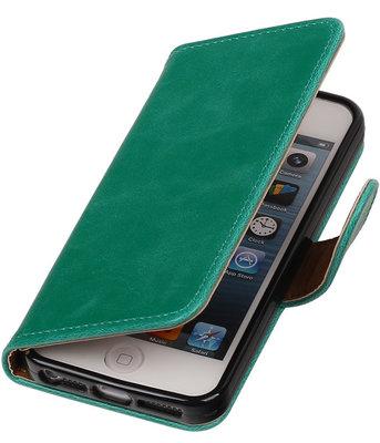 Groen Pull-Up PU Hoesje voor Apple iPhone 5/5s Booktype Wallet Cover