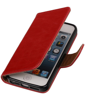 Rood Pull-Up PU Hoesje voor Apple iPhone 5/5s Booktype Wallet Cover
