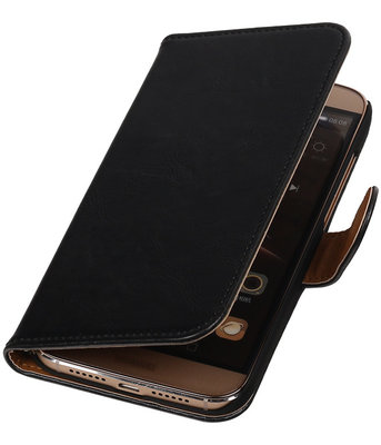 Zwart Pull-Up PU Hoesje voor Huawei G8 Booktype Wallet Cover