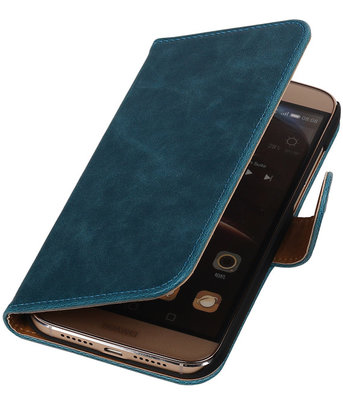 Blauw Pull-Up PU Hoesje voor Huawei G8 Booktype Wallet Cover