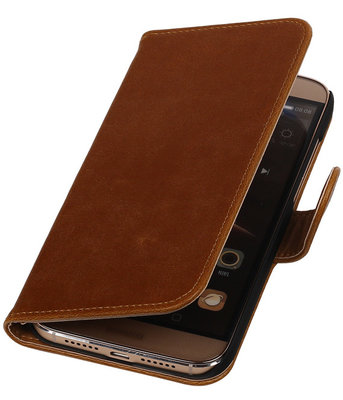 Bruin Pull-Up PU Hoesje Huawei G8 Booktype Wallet Cover