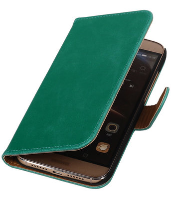 Groen Pull-Up PU Hoesje voor Huawei G8 Booktype Wallet Cover