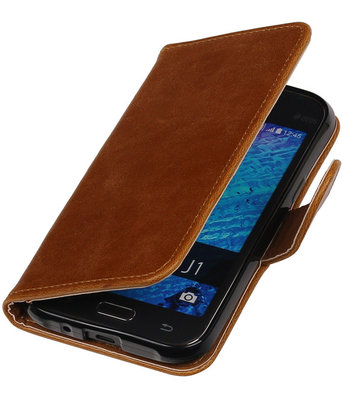 Bruin Pull-Up PU Hoesje voor Samsung Galaxy J1 2015 Booktype Wallet Cover