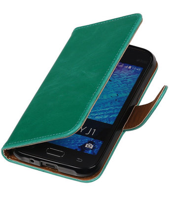Groen Pull-Up PU Hoesje voor Samsung Galaxy J1 2015 Booktype Wallet Cover