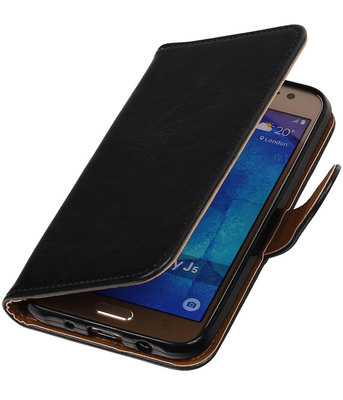 Zwart Pull-Up PU Hoesje voor Samsung Galaxy J5 2015 Booktype Wallet Cover