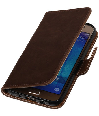 Mocca Pull-Up PU Hoesje voor Samsung Galaxy J5 2015 Booktype Wallet Cover