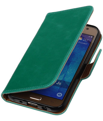 Groen Pull-Up PU Hoesje voor Samsung Galaxy J5 2015 Booktype Wallet Cover