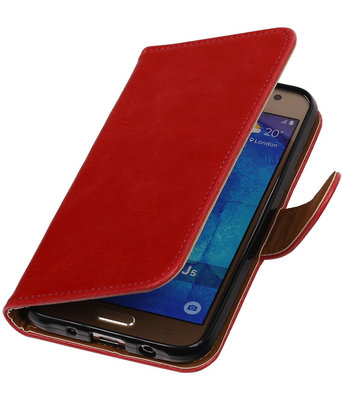 Rood Pull-Up PU Hoesje voor Samsung Galaxy J5 2015 Booktype Wallet Cover