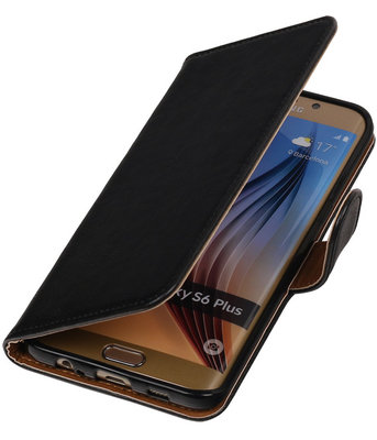 Zwart Pull-Up PU Hoesje voor Samsung Galaxy S6 Edge Plus Booktype Wallet Cover