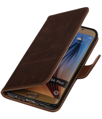 Mocca Pull-Up PU Hoesje voor Samsung Galaxy S6 Edge Plus Booktype Wallet Cover