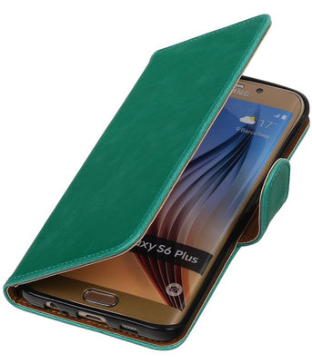 Groen Pull-Up PU Hoesje voor Samsung Galaxy S6 Edge Plus Booktype Wallet Cover