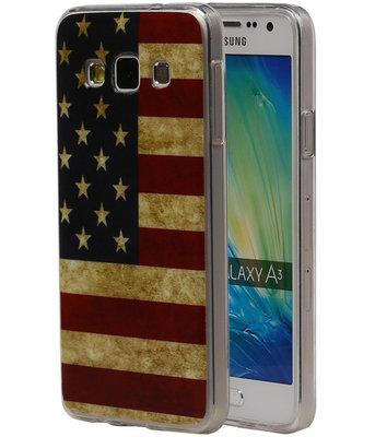 Amerikaanse Vlag TPU Cover Case voor Hoesje voor Samsung Galaxy A3 2015