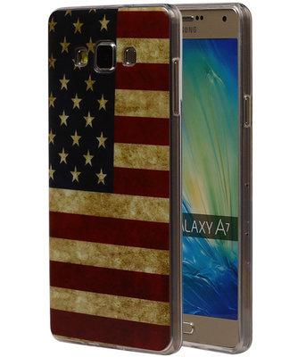Amerikaanse Vlag TPU Cover Case voor Hoesje voor Samsung Galaxy A7 2015
