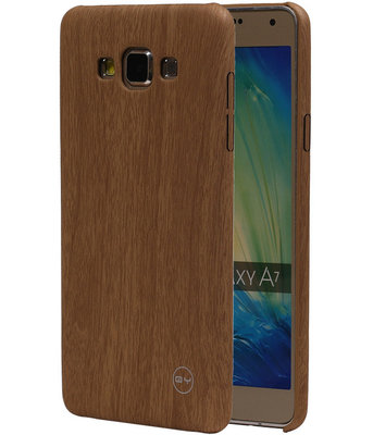 Licht Bruin Hout QY TPU Cover Case voor Samsung Galaxy A7 2015 Hoesje
