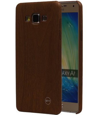 Bruin Hout QY TPU Cover Case voor Samsung Galaxy A7 2015 Hoesje