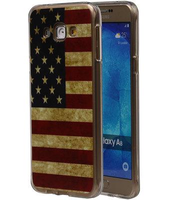 Amerikaanse Vlag TPU Cover Case voor Hoesje voor Samsung Galaxy A8 2015