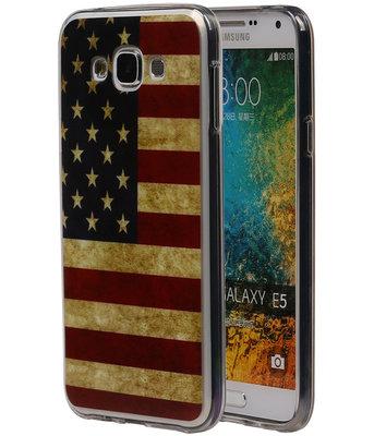Amerikaanse Vlag TPU Cover Case voor Samsung Galaxy E5 Hoesje