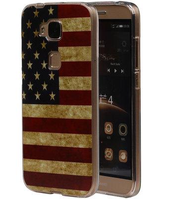 Amerikaanse Vlag TPU Cover Case voor Hoesje voor Huawei G8
