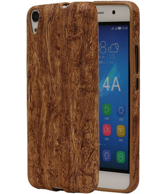 Bruin Hout Design TPU Cover Case voor Hoesje voor Huawei Honor Y6