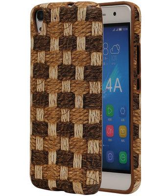 Bruin Geweven Hout Design TPU Cover Case voor Hoesje voor Huawei Honor Y6