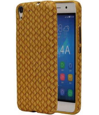 Goud Geweven Hout Design TPU Cover Case voor Hoesje voor Huawei Honor Y6