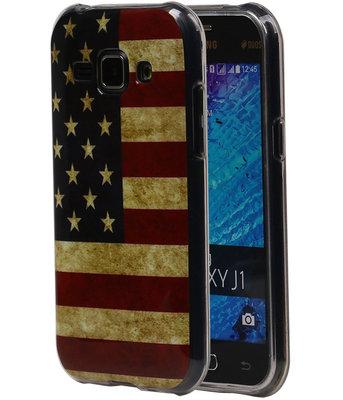Amerikaanse Vlag TPU Cover Case voor Samsung Galaxy J1 2015 Hoesje