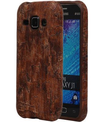 Warm Bruin Hout TPU Cover Case voor Samsung Galaxy J1 2015 Hoesje