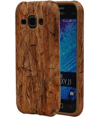 Licht Bruin Hout TPU Cover Case voor Samsung Galaxy J1 2015 Hoesje