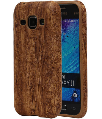 Bruin Hout TPU Cover Case voor Samsung Galaxy J1 2015 Hoesje
