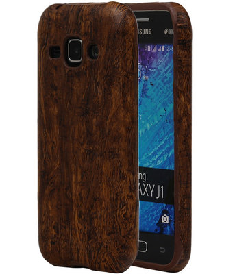 Donker Bruin Hout TPU Cover Case voor Samsung Galaxy J1 2015 Hoesje