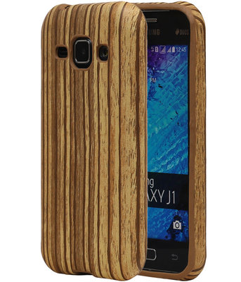 Verticale Hout TPU Cover Case voor Samsung Galaxy J1 2015 Hoesje