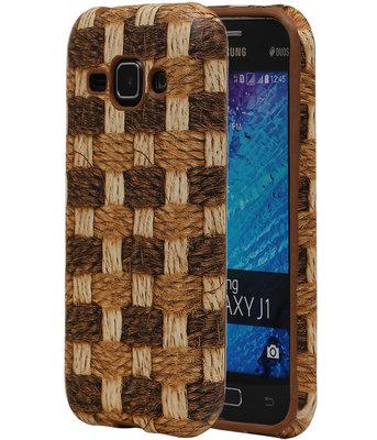 Bruin Geweven Hout Design TPU Cover Case voor Samsung Galaxy J1 2015 Hoesje
