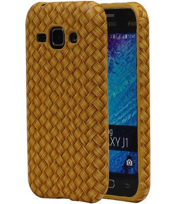 Goud Geweven Hout Design TPU Cover Case voor Samsung Galaxy J1 2015 Hoesje