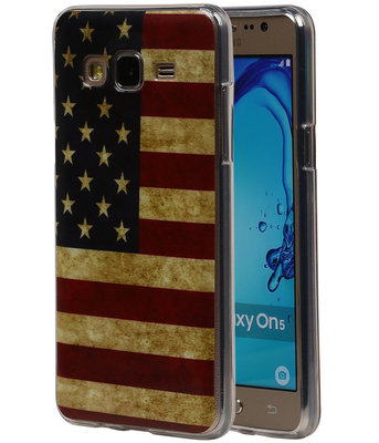 Amerikaanse Vlag TPU Cover Case voor Hoesje voor Samsung Galaxy On5