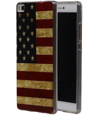 Amerikaanse Vlag TPU Cover Case voor Hoesje voor Huawei P8