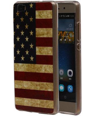 Amerikaanse Vlag TPU Cover Case voor Huawei P8 Lite Hoesje