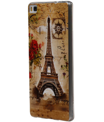Eiffeltoren TPU Cover Case voor Hoesje voor Huawei P8 Lite