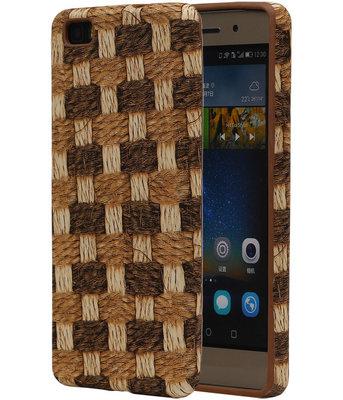 Bruin Geweven TPU Cover Case voor Hoesje voor Huawei P8 Lite