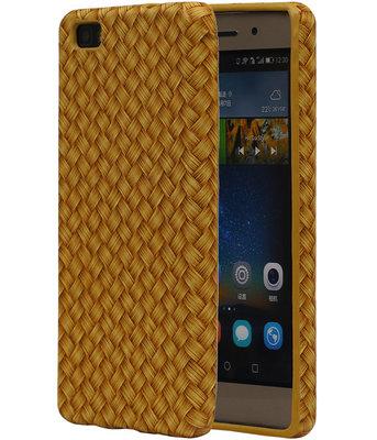 Goud Geweven TPU Cover Case voor Huawei P8 Lite Hoesje