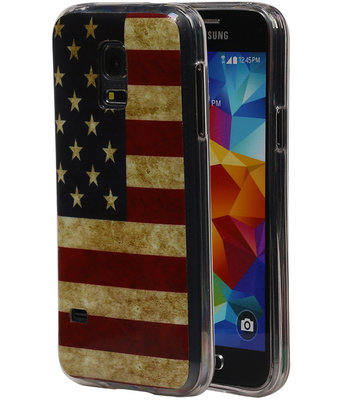 Amerikaanse Vlag TPU Cover Case voor Samsung Galaxy S5 Mini Hoesje