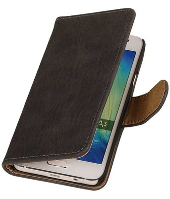 Grijs Bark Hout Hoesje Samsung Galaxy A3 2016 Booktype Wallet Cover