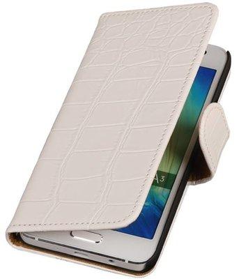 Wit Krokodil Booktype Hoesje voor Samsung Galaxy A3 2016 Wallet Cover