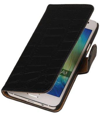 Zwart Krokodil Booktype Hoesje voor Samsung Galaxy A3 2016 Wallet Cover