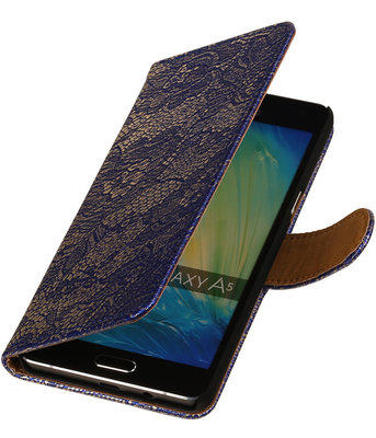 Blauw Lace Booktype Hoesje voor Samsung Galaxy A3 2016 Wallet Cover