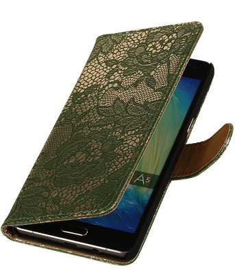 Donker Groen Lace Booktype Hoesje voor Samsung Galaxy A3 2016 Wallet Cover