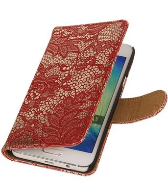 Rood Lace Booktype Hoesje voor Samsung Galaxy A3 2016 Wallet Cover