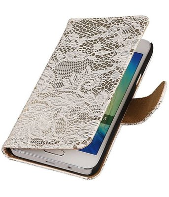Wit Lace Booktype Hoesje voor Samsung Galaxy A3 2016 Wallet Cover