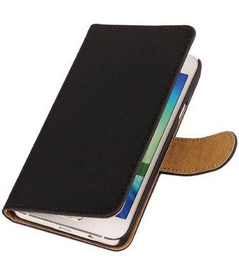 Zwart Effen Booktype Hoesje voor Samsung Galaxy A3 2016 Wallet Cover
