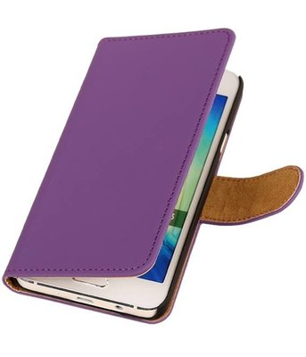 Paars Effen Booktype Samsung Galaxy A3 2016 Wallet Cover Hoesje