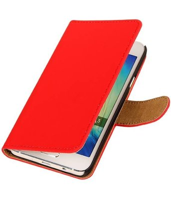 Rood Effen Booktype Hoesje voor Samsung Galaxy A3 2016 Wallet Cover